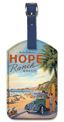 - Leatherette Travel Luggage Tag Baggage Label - Hope Ranch Beach by K. Erickson