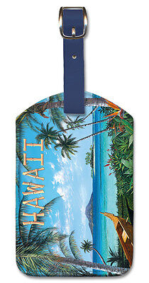 - Leatherette LUGGAGE TAG Baggage Label TROPICAL BEACH Hawaii PALM Outrigger Canoe