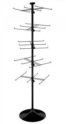 Floor Display Rack - 30 Hook For Merchandise Up To 7.5 Wide Round Base Black