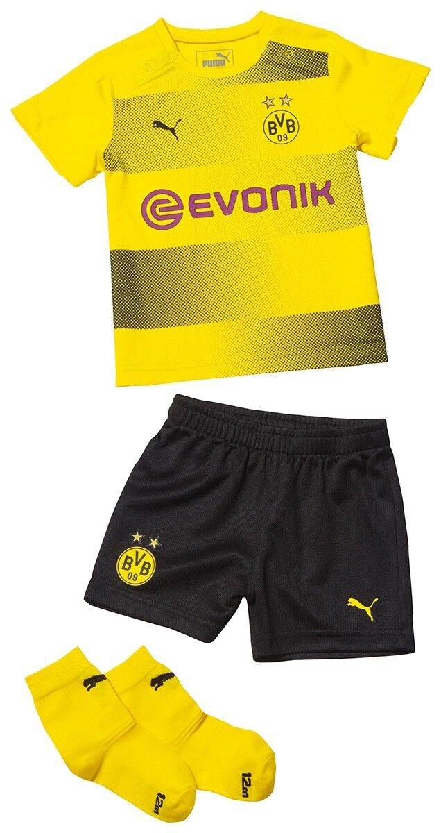 Puma BVB Home Baby Kit with Sponsor Trikot Babyset Kinder Baby Set