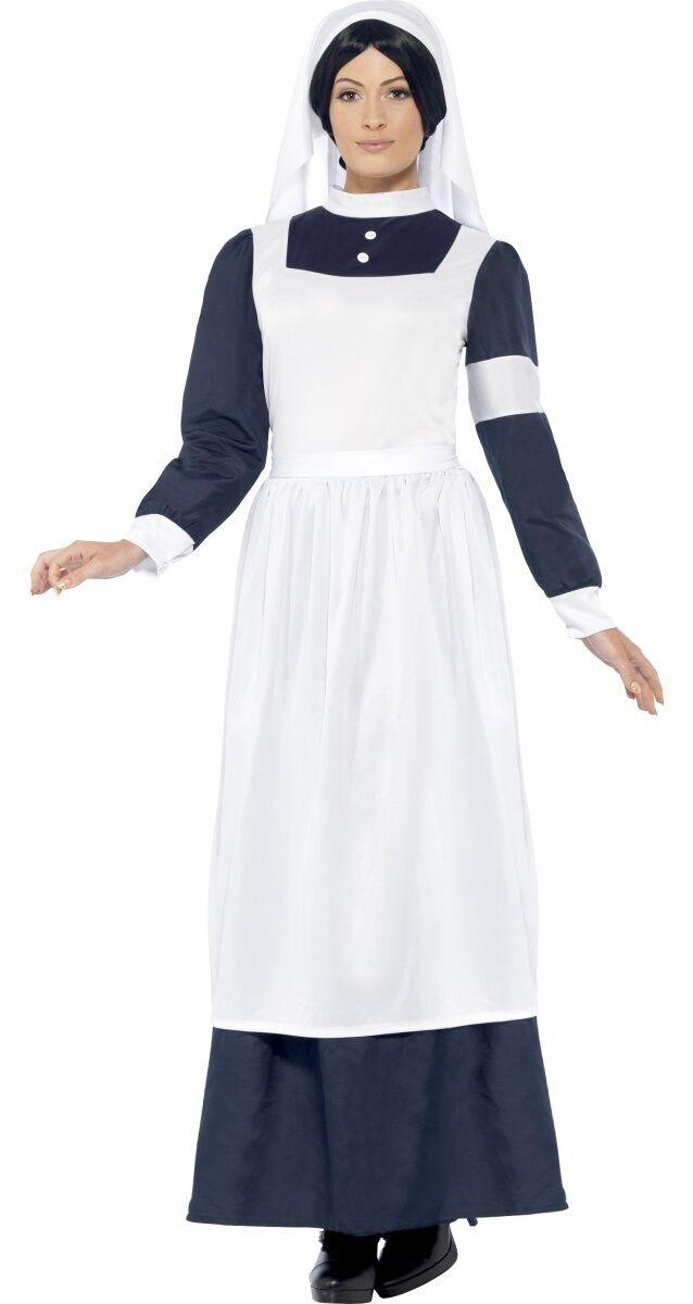 Ladies Wartime Nurse Victorian WW1 Fancy Dress Costume Outfit 12-22 Plus Size
