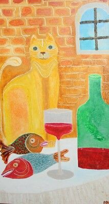 CUBIST OIL PAINTING STILL LIFE WITH CAT, FISH AND WINE SIGNED
