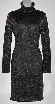 H&M Ladies Long Sleeve Metallic Jersey Knit Fitted Turtleneck Dress Black L NWT
