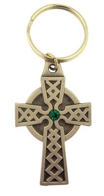 - Pewter Celtic High Cross Medal with Green Accent Key Chain, 2 1/4 Inch