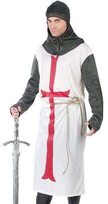 Renaissance Knight Costume (Templar Knight Costume Mens Adult Medieval Renaissance Crusader - Fast)
