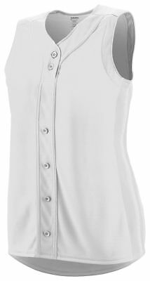 Augusta Sportswear Women's Sleeveless Full Button Baseball Jersey Shirt. 1668 Augusta Sleeveless Jersey