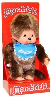 """MONCHHICHI BOY Original Sekiguchi 7.5"""" BLUE Bib Monchichi plush monkey Doll toy"""