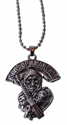 Sons Of Anarchy Grim Reaper Silvertone Pendant Necklace With 20  Chain
