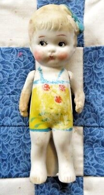 "Bisque Doll Kewpie Frozen Charlotte Bathing Beauty Japan 4-1/2"" Vintage"