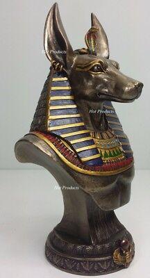 """9"""" Egyptian Anubis Jackal Bust on Plinth Statue Sculpture Antique Bronze Color"""