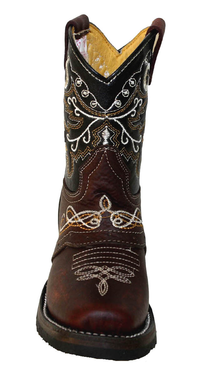 Kid's childrens toddler cowboy boots leather square toe rodeo boys western CB300