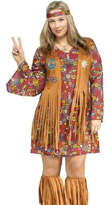 Sexy 60s 1960s Peace & Love Hippie Costume GoGo Dress 70s 60's - Plus Size 16-20 - Plus Size 70s Costumes