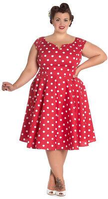 Rot Polka Dot Baumwolle Kleid (Hell Bunny NICKY 50s Retro POLKA DOTS SWING Dress KLEID Plus Size Rot Rockabilly)