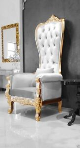 Queen Throne Chair Baroque High Back Spa Chair Wedding Chair White Velvet & Gold