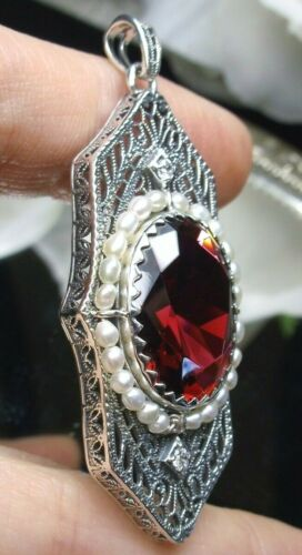 Seed Pearl & Sim Ruby Art Deco Sterling Silver Filigree Pendant (Custom-Made)*