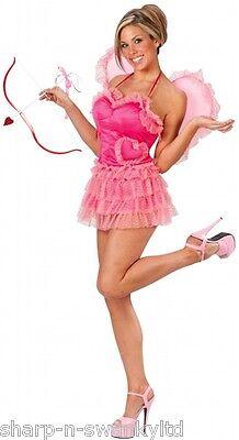 Damen Sexy Amor Valentinstag Kostüm Kleid Outfit mit Schleife & - Amor Pfeile Kostüm