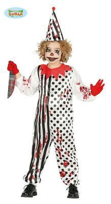 Costume bambino halloween clown pagliaccio zombie tg. 5-6 anni