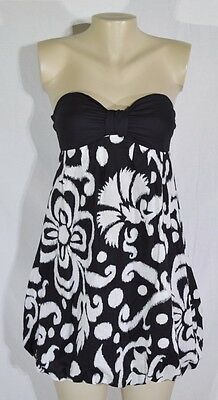 WET SEAL Black/White Patterned Bubble Strapless Dress Small Black Bodice Lined