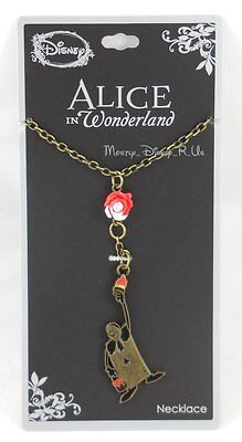 New Disney Alice In Wonderland Painting The Roses Red Charm Pendant Necklace Nwt