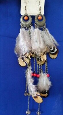 Western Boho Brass Chain Brown Feather Long Drop Earrings with beads N6-9/22 ()