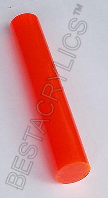 2 Diameter Translucent Orange Acrylic Plexiglass Lucite Rod 6 Inch 5 78 Long