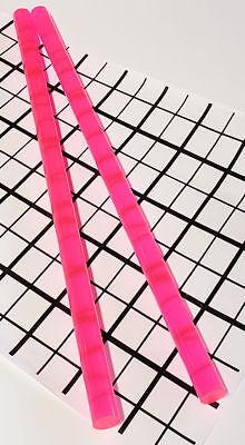 2 Pcs 12 X 12 Clear Pink Fluorescent Acrylic Plexiglass Rod .5 Inch Diameter