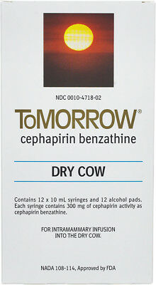 Tomorrow Dry Cow Mastitis Tubes Dairy Cattle 12ct Box Cefa Dri