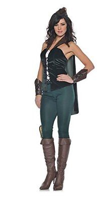 L UK 14 Robin Hood Ladies Costume Cape Merry Men Maid Marian Velvet Faux Leather