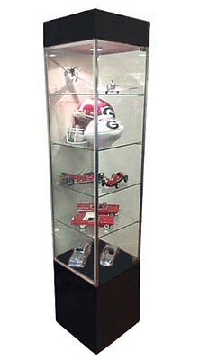 Tower Showcase Glass Display Case Led Lighting Lights Assembled Black New