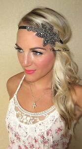 Black-Pewter-Silver-Flapper-Charleston-1920-Hair-Head-Band-Choochie-Great-Gatsby