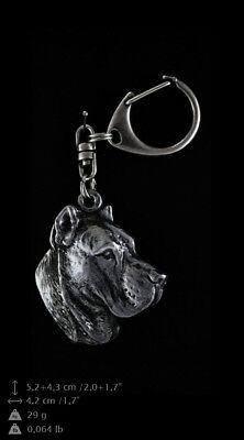 Perro de presa canario, cubierto de plata, llavero de alta calidad Art...