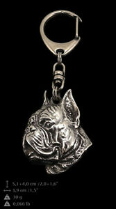 Boxer, cropped silver covered keyring, high quality keychain Art Dog 2nd kind - <span itemprop='availableAtOrFrom'>Zary, Polska</span> - Boxer, cropped silver covered keyring, high quality keychain Art Dog 2nd kind - Zary, Polska