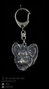 Papillon silver covered keyring, high qauality keychain Art Dog - <span itemprop='availableAtOrFrom'>Zary, Polska</span> - Papillon silver covered keyring, high qauality keychain Art Dog - Zary, Polska