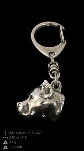 Amstaff 3D silver covered keyring, high quality keychain Art Dog - <span itemprop='availableAtOrFrom'>Zary, Polska</span> - Amstaff 3D silver covered keyring, high quality keychain Art Dog - Zary, Polska