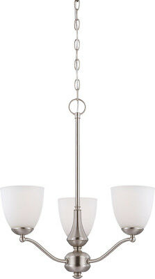 Patton 3 Light LED Brushed Nickel And Frosted Glass Chandelier