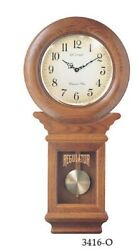 LaCross Schoolhouse Chiming Regulator  WALL CLOCK Swinging Pendulum Oak Finish