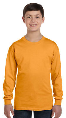 Hanes Boys 100% Cotton Tagless Coverseamed Crewneck Rib Knit Cuffs T-Shirt. 5546 ()