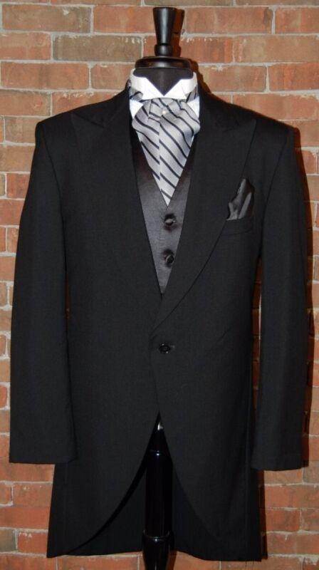 Mens 42 L Black Classic Fit Cutaway / Morning Coat Tuxedo Jacket