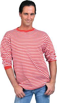 Morris Costumes Men's Long Sleeve Clown Polyester T Shirt Red White L. FF761633