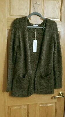 NEW~ANTHROPOLOGIE WOVEN HEART~OLIVE~FURRY Knit~Open ~CARDIGAN SWEATER DUSTER~S