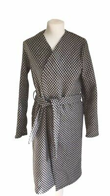 Collection London Womens Checkered Black & White Belted Towne Overcoat Size 14, used for sale  Shipping to Nigeria