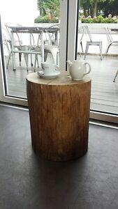 HARDWOOD TREE TRUNK TABLE STOOL