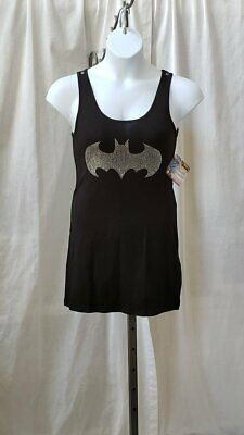 Teen Womens Batman Batgirl Black Costume Tank Dress S M 2-6 Rhinestone Bat Logo