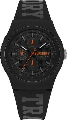 Superdry Men's Watch with Black Dial and Black Silicone Strap SYG188BB