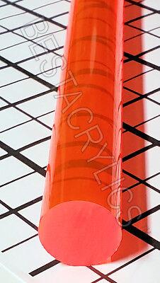 1 Diameter Clear Translucent Orange Acrylic Plexiglass Lucite Rod 18 Inch Long