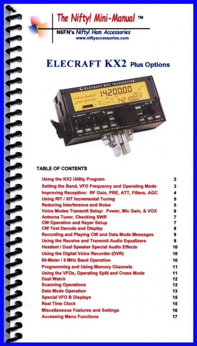 Details about Nifty! Ham Radio Mini-Manual for the Elecraft KX2