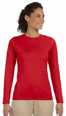Gildan Women's SoftStyle Taped Crewneck 100% Cotton Long Sleeve T-Shirt.