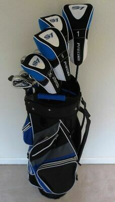 NEW Tall Mens Golf Club Set Driver, 3 & 5 Woods, Hybrid Irons Cart Bag Stiff +1