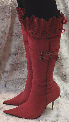 Boots Red Suede Leather Knee High Stiletto Buckle Cosplay Steam Punk Gothic