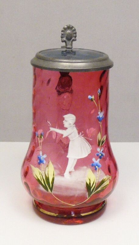 Antique Red Mary Gregory Lidded Glass Beer Stein Tankard ~ Free Shipping